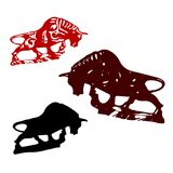 Collection of Bulls or Taurus, for decoration, silhouette on whi. Te background, vector Stock Images