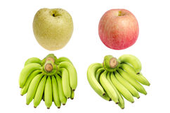 Collection of  Bunch of bananas ,Pear and Apple isolated on white. Stock Image
