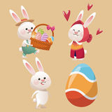 Collection bunny easter egg Stock Images
