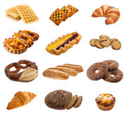 Collection of buns and rolls Royalty Free Stock Images