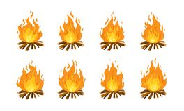 Collection of burning bonfires or campfires isolated on white background. Animation set of flame on firewood or logs in. Fire. Bundle of decorative design vector illustration