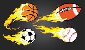 Collection of burning sports ball Stock Photo
