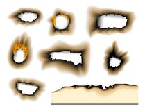 Burnt piece burned faded paper hole realistic fire flame isolated page sheet torn ash vector illustration. Collection of burnt faded holes piece burned paper Royalty Free Stock Photo
