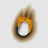 Burnt piece burned faded paper hole realistic fire flame page sheet torn ash vector illustration. Collection of burnt faded holes piece burned paper fire stock illustration