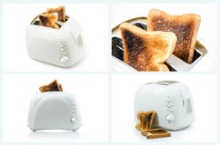 Collection of Burnt Toast  in Toaster on white. Stock Image