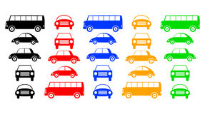 Collection of buses and cars Stock Image