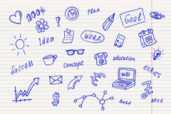 Collection of business, doodle sketch objects and elements. Royalty Free Stock Photos
