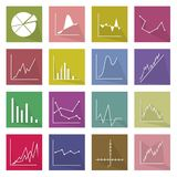 Collection of 16 Business Graph Icons Banner. Flat Icons, Illustration Set of 16 Business Graph and Chart Icon Labels stock illustration