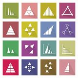 Collection of 16 Business Graph Icons Banner. Flat Icons, Illustration Set of 16 Business Graph and Chart Icon Labels Royalty Free Stock Photo