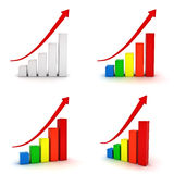 Collection of business graphs with red arrow. Collection of business graphs with red rising arrow isolated over white background Royalty Free Stock Image