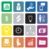 Collection of 16 business icon/sign. . Royalty Free Stock Images