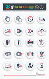 Collection of business icons. Collection of business, shopping icons such as devices, tag, sticker, basket in black color isolated on white background. Stylish Stock Images