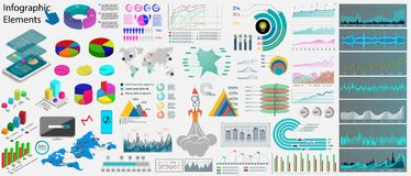 Collection business infographics elements. Data, infographics, statistic, information, diagrams, world map, icons Big Collections, website and presentation vector illustration