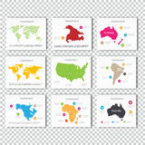 Collection Business Investment World, USA, Australia, North America, Africa Maps Presentation slide Template Stock Image