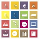 Collection of 16 Business Item Icons Banner. Flat Icons, Illustration Set of 16 Business and E-commerce Item Icon Labels Stock Photos