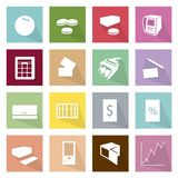 Collection of 16 Business Item Icons Banner. Flat Icons, Illustration Set of 16 Business Item and Equipment Icon Labels Stock Photo