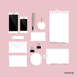 Collection of business items, various papers, paper designs read Royalty Free Stock Photos