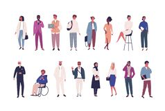 Collection of business people, entrepreneurs or male and female office workers of various ethnicity and age isolated on. White background. Multinational company royalty free illustration