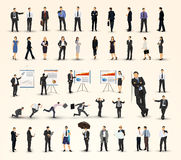 Collection of business people illustrations in different poses Stock Photos