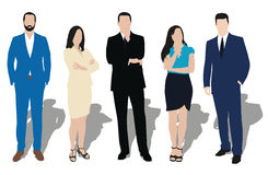 Collection of business people. Illustrations in different poses. Men and women at work. Teacher, lawyer, manager, salesman, dealer, merchant, model, secretary Stock Image