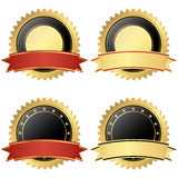 Collection of business seals. Collection of vector templates of round seal of qualities with banner colored gold, black and red vector illustration
