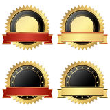 Collection of business seals. Collection of vector templates of round seal of qualities with banner colored gold, black and red Royalty Free Stock Images