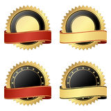 Collection of business seals. Collection of vector templates of round seal of qualities with banner colored gold, black and red Stock Photography