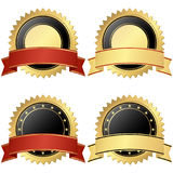 Collection of business seals. Collection of vector templates of round seal of qualities with banner colored gold, black and red royalty free illustration