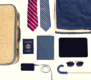 Collection of business travel items Stock Images