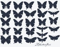 Collection of butterflies silhouettes Royalty Free Stock Photo