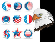 Collection of button in us flag color, eagle head Royalty Free Stock Images