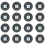 Collection of 16  buttons (icons) - date, calendar (1-16) Stock Image