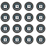 Collection of 16  buttons (icons) - date, calendar (17-31, 365) Stock Photography