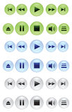Collection of buttons for mediaplayers Stock Photos