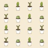 Collection of cactus . Vector pattern Stock Photography