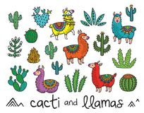 Collection of cactuses and llamas in cartoon style. Vector illustration. Set of cacti and llamas. Ideal for patch, pins, brooch and stickers. Vector illustration Royalty Free Stock Image