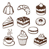 Collection of cake and bakery doodles. Hand-drawn illustrations of cakes and baked desserts Stock Photos