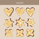 Collection of cake figured cookies. Collection of cookies. Asterisks, hearts, rhombuses. Vector illustration Royalty Free Stock Image