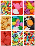 Collection of Cake Sprinkles. With Jimmies, Stars, Hearts, Balls and Dino as Background royalty free stock images