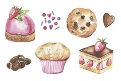 Collection of cakes, chocolate hand-drawn in watercolor and isolated on a white background.