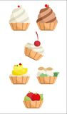Collection of cakes with cream Royalty Free Stock Images
