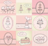 Collection of cakes, cupcakes and cake pops background Stock Images