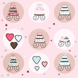 Collection of Cakes, Cupcakes and Candy Hearts Royalty Free Stock Image