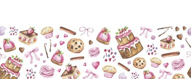 Collection of cakes, kitchen items hand-drawn in watercolor and isolated on a white background. Kitchen, cafe seamless