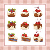Collection of cakes on white background Royalty Free Stock Photo