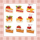 Collection of cakes on white background Stock Image