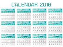 Collection of Calendar 2016 Design Template. 12 month template of calendar 2016 Stock Photo