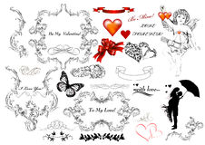 Collection of calligraphic design elements on St Valentine's day Royalty Free Stock Image