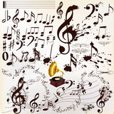 Collection of calligraphic and grunge music elements staves and Stock Images