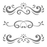 Collection of  calligraphic lines ornaments or dividers. Retro style.  on white background Royalty Free Stock Photography